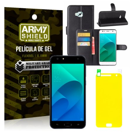 Kit Capa Carteira Asus Zenfone 4 Selfie ZD553KL 5.5 Capa Carteira + Película - Armyshield