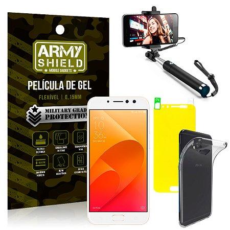 Kit Bastão Selfie Asus Zenfone 4 Selfie Pro ZD552KL 5.5 Bastão + Película + Capa - Armyshield