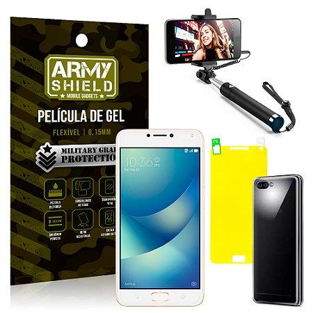 Kit Bastão Selfie Asus Zenfone 4 Max ZC554KL 5.5 Bastão + Película + Capa - Armyshield