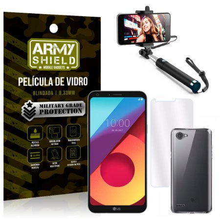 Kit Bastão Selfie LG Q6 / Q6 Plus M700TV 5.5 Bastão + Película + Capa - Armyshield