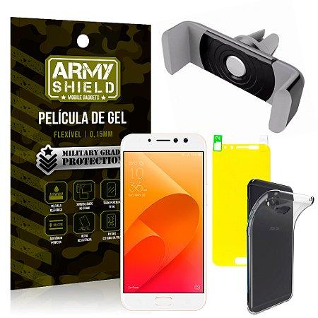 Kit Suporte Veicular Asus Zenfone 4 Selfie Pro ZD552KL 5.5 Suporte + Película + Capa - Armyshield