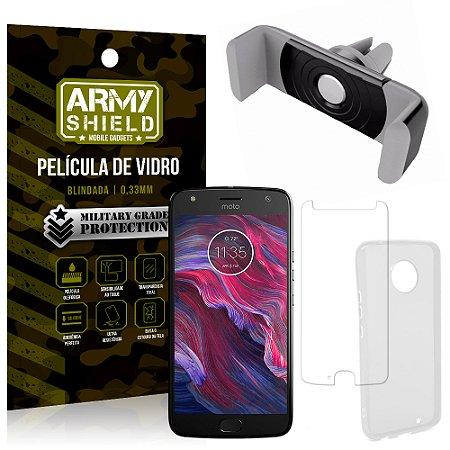 Kit Suporte Veicular Motorola Moto X4 XT1900 5.2 Suporte + Película + Capa - Armyshield