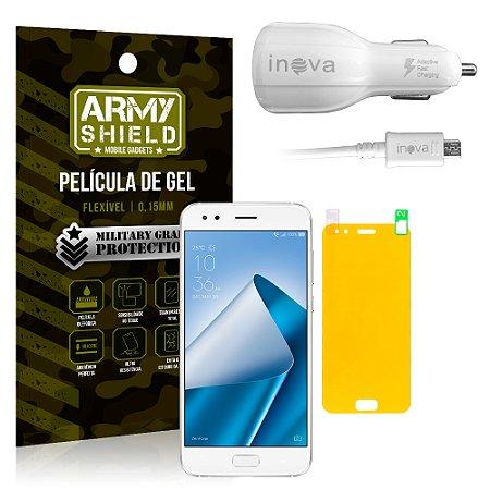 Kit Carregador Veicular Asus Zenfone 4 ZE554KL 5.5 Carregador + Película + Capa - Armyshield