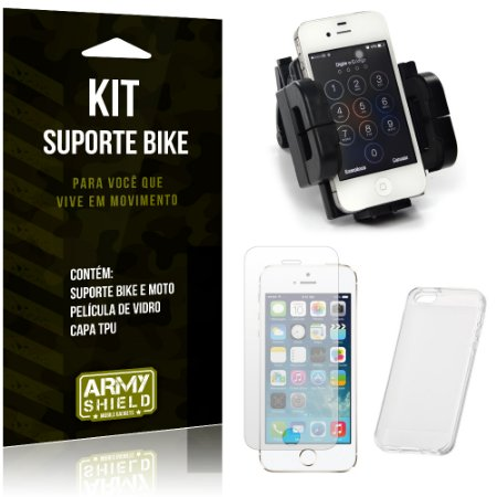 Kit Suporte Moto Bike Apple iPhone 5 - 5S - 5SE Suporte + Película + Capa - Armyshield