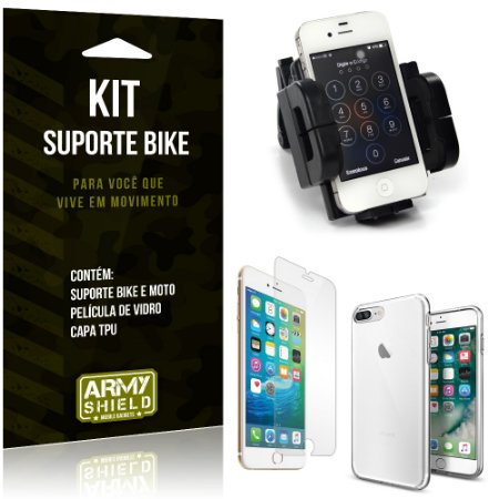 Kit Suporte Moto Bike Apple iPhone 8 Plus Suporte + Película + Capa - Armyshield