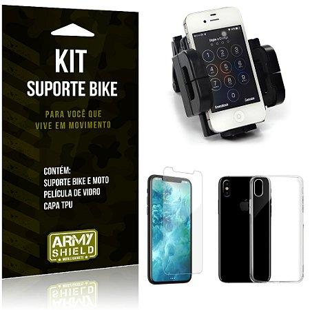 Kit Suporte Moto Bike Apple iPhone X Suporte + Película + Capa - Armyshield