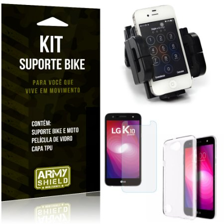 Kit Suporte Moto Bike LG K10 Power Suporte + Película + Capa - Armyshield