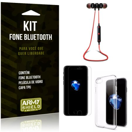 Kit Fone Bluetooth KD901 Apple iPhone 7 Fone + Película + Capa - Armyshield