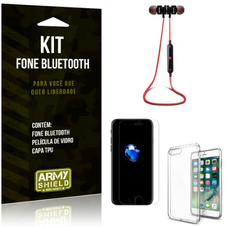 Kit Fone Bluetooth KD901 Apple iPhone 7 Plus Fone + Película + Capa - Armyshield