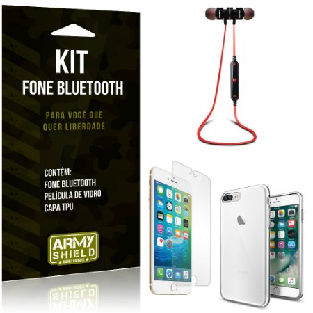 Kit Fone Bluetooth KD901 Apple iPhone 8 Plus Fone + Película + Capa - Armyshield