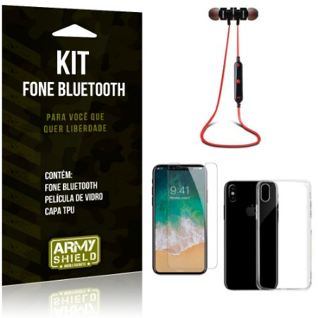 Kit Fone Bluetooth KD901 Apple iPhone X Fone + Película + Capa - Armyshield