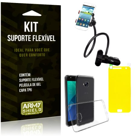 Kit Suporte Flexível Asus Zenfone 4 Selfie - 5.5' ZD553KL Suporte + Película + Capa - Armyshield
