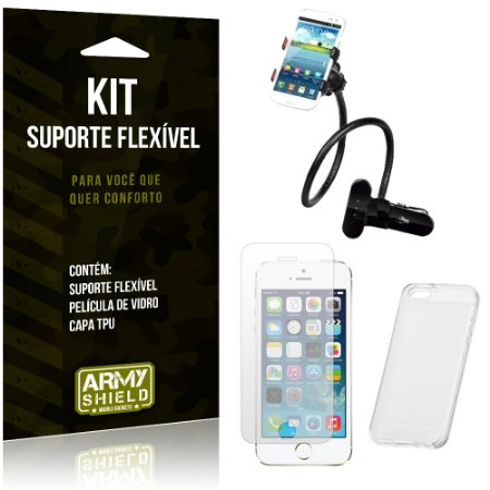 Kit Suporte Flexível Apple iPhone 5 - 5S - 5SE Suporte + Película + Capa - Armyshield