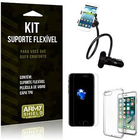 Kit Suporte Flexível Apple iPhone 7 Plus Suporte + Película + Capa - Armyshield
