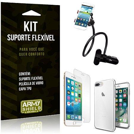 Kit Suporte Flexível Apple iPhone 8 Plus Suporte + Película + Capa - Armyshield