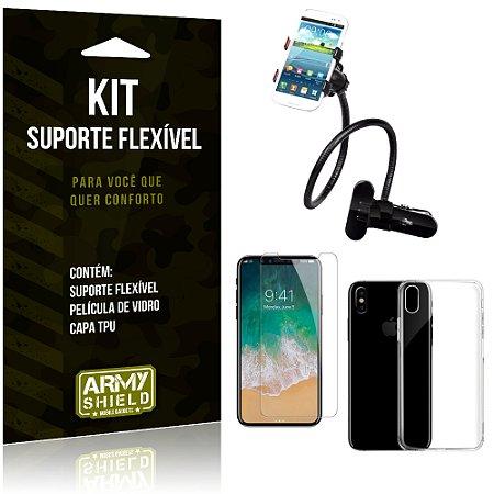 Kit Suporte Flexível Apple iPhone X Suporte + Película + Capa - Armyshield