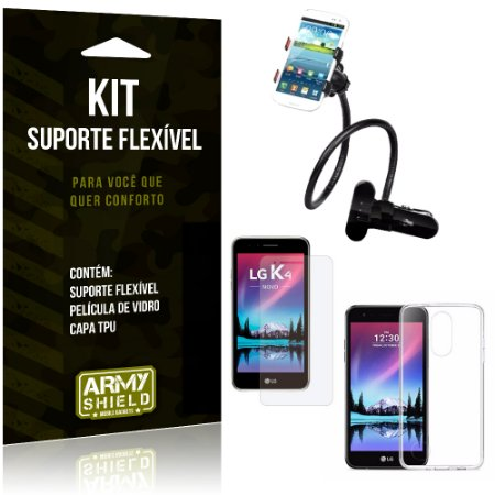 Kit Suporte Flexível LG K4 Novo (2017) Suporte + Película + Capa - Armyshield