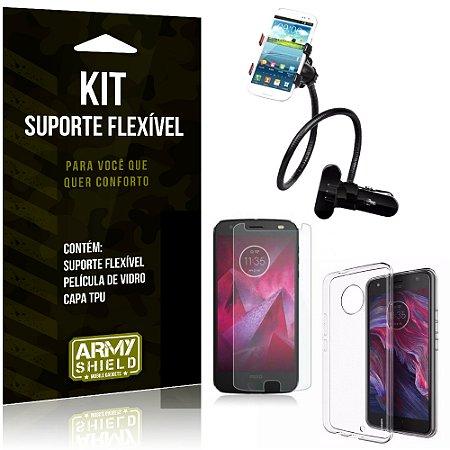 Kit Suporte Flexível Motorola Moto X 4 Suporte + Película + Capa - Armyshield