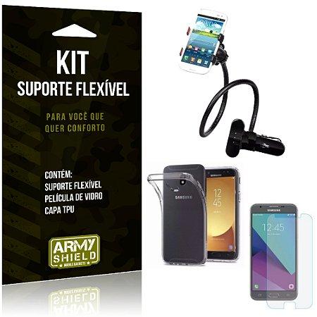 Kit Suporte Flexível Samsung Galaxy J5 Pro (2017) Suporte + Película + Capa - Armyshield