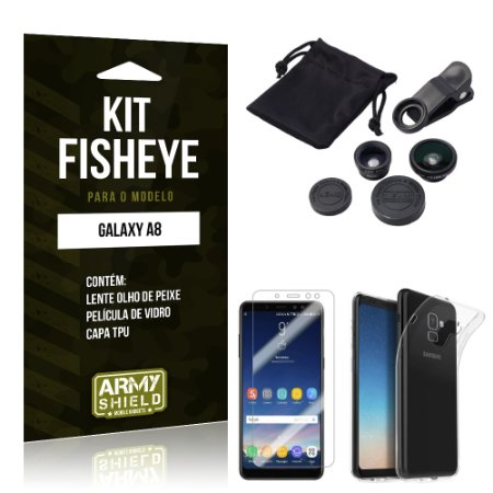 Kit Fisheye Galaxy A8 Lentes + Película + Capa - Armyshield