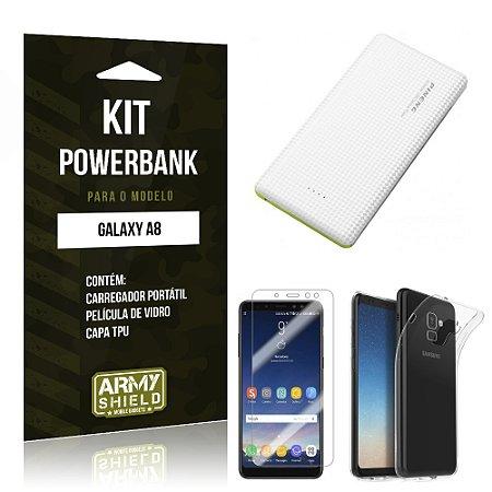 Kit Powerbank Tipo C Galaxy A8 Powerbank + Película + Capa - Armyshield