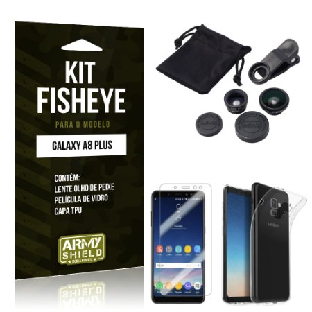 Kit Fisheye Galaxy A8 Plus Lentes + Película + Capa - Armyshield