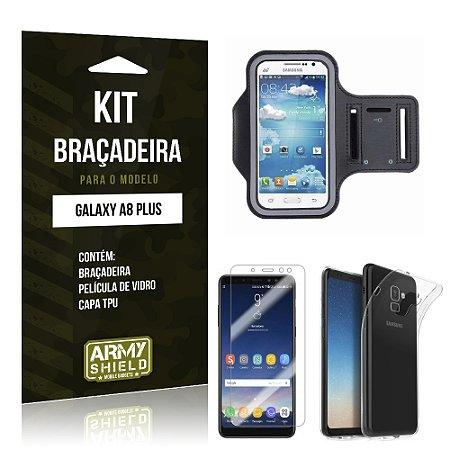 Kit Braçadeira Galaxy A8 Plus Braçadeira + Película + Capa - Armyshield