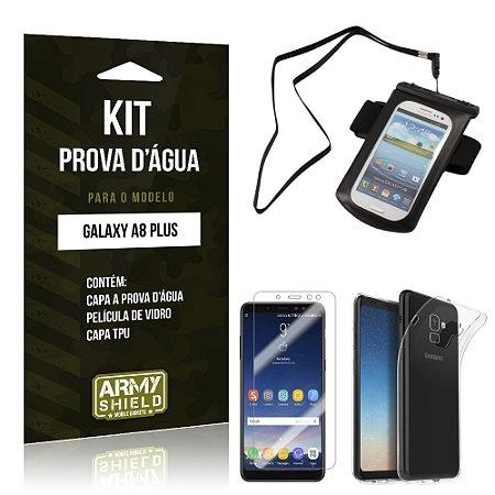 Kit Capa à Prova D'água Galaxy A8 Plus Prova Dágua + Película + Capa - Armyshield