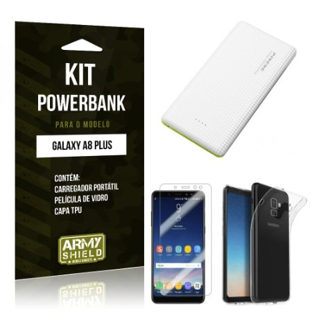 Kit Powerbank Tipo C Galaxy A8 Plus Powerbank + Película + Capa - Armyshield