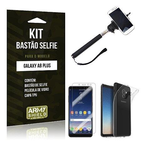 Kit Bastão Selfie Galaxy A8 Plus Bastão + Película + Capa - Armyshield