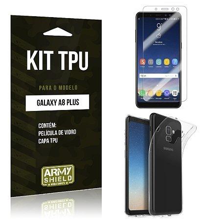 Kit Capa Silicone Galaxy A8 Plus Película + Capa - Armyshield