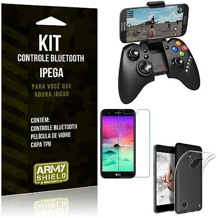 Kit Controle Bluetooth LG K10 Novo (2017) Controle + Película + Capa - Armyshield