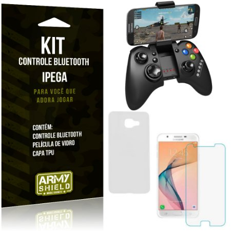 Kit Controle Bluetooth Samsung Galaxy J5 Prime Controle + Película + Capa - Armyshield