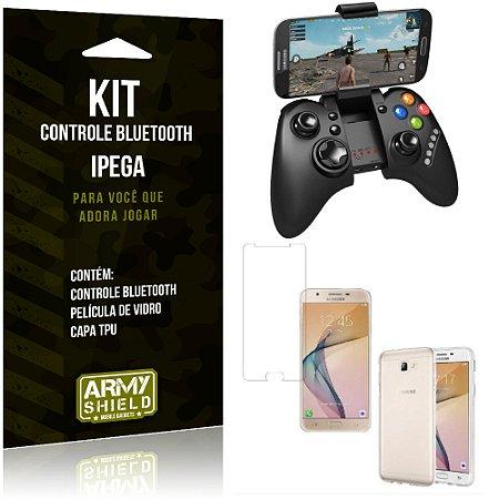 Kit Controle Bluetooth Samsung Galaxy J7 Prime Controle + Película + Capa - Armyshield
