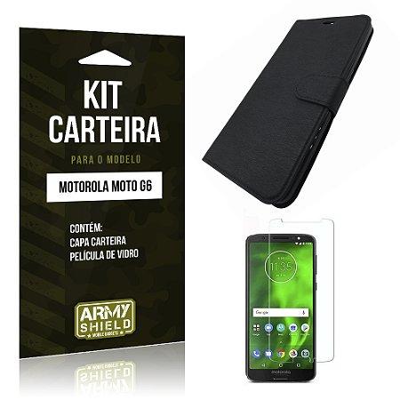 Kit Capa Carteira Motorola Moto G6 Capa Carteira + Película - Armyshield