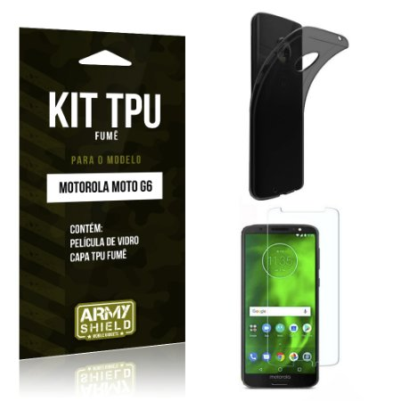 Kit Capa Fumê Motorola Moto G6 Película + Capa Fumê - Armyshield