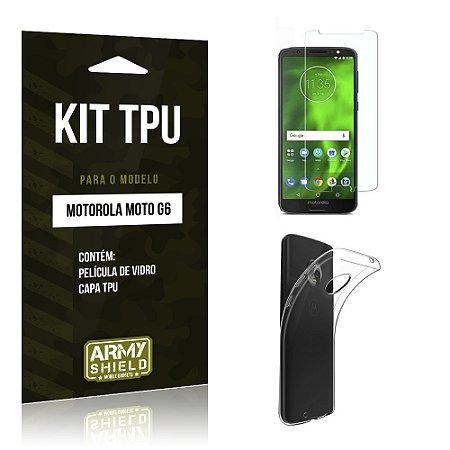 Kit Capa Silicone Motorola Moto G6 Película + Capa - Armyshield