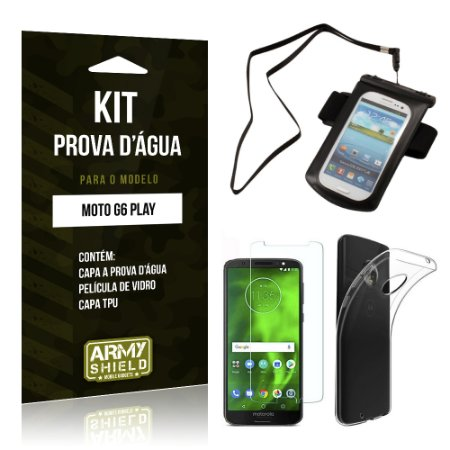Kit Capa à Prova D'água Motorola Moto G6 Play Prova Dágua + Película + Capa - Armyshield