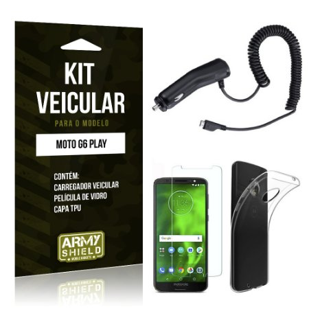 Kit Carregador Veicular Tipo C Motorola Moto G6 Play Carregador + Película + Capa - Armyshield