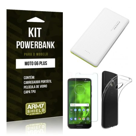 Kit Powerbank Tipo C Motorola Moto G6 Plus Powerbank + Película + Capa - Armyshield