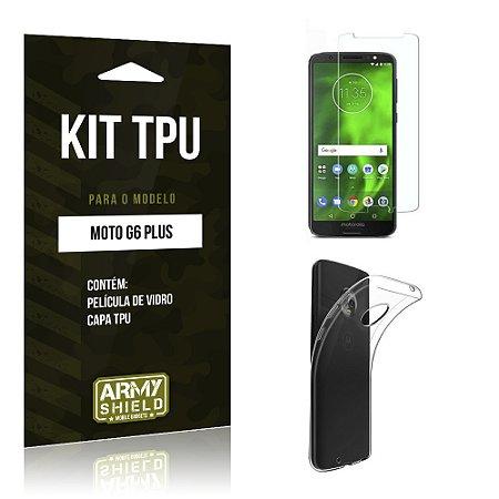Kit Capa Silicone Motorola Moto G6 Plus Película + Capa - Armyshield