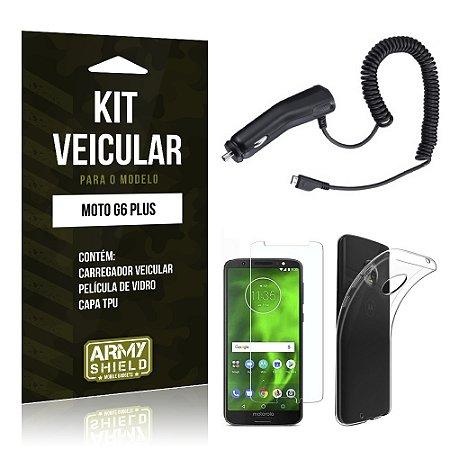 Kit Carregador Veicular Tipo C Motorola Moto G6 Plus Carregador + Película + Capa - Armyshield