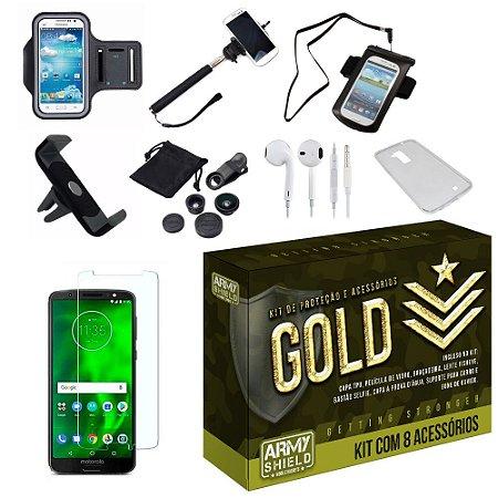 Kit Gold Motorola Moto G6 Plus com 8 Acessórios - Armyshield