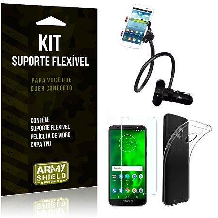 Kit Suporte Flexível Motorola Moto G6 Plus Suporte + Película + Capa - Armyshield