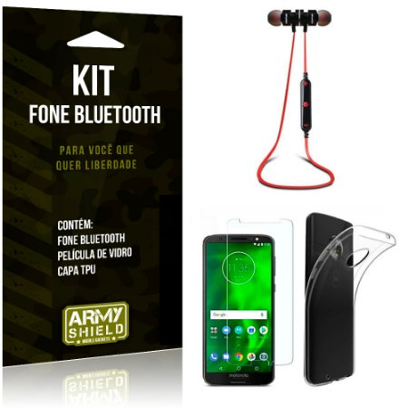 Kit Fone Bluetooth KD901 Motorola Moto G6 Plus Fone + Película + Capa - Armyshield