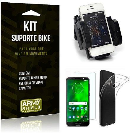 Kit Suporte Moto Bike Motorola Moto G6 Plus Suporte + Película + Capa - Armyshield