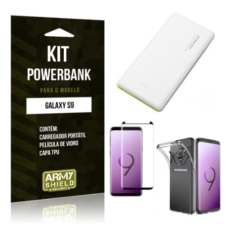 Kit Powerbank Tipo C Galaxy S9 Powerbank + Película + Capa - Armyshield