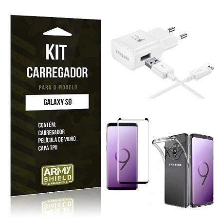 Kit Carregador Tipo C Galaxy S9 Carregador + Película + Capa - Armyshield