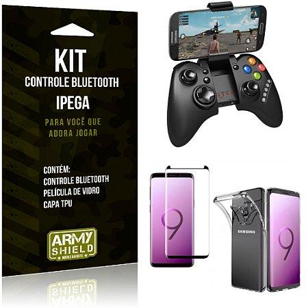 Kit Controle Bluetooth Galaxy S9 Controle + Película + Capa - Armyshield
