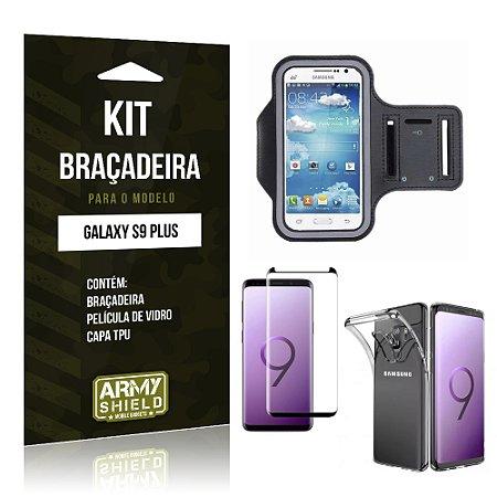 Kit Braçadeira Galaxy S9 Plus Braçadeira + Película + Capa - Armyshield